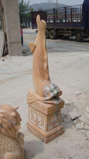 动物石雕鱼,石雕鱼雕塑,园林石雕鱼雕塑,鲤鱼雕塑,石雕喷泉鱼雕塑