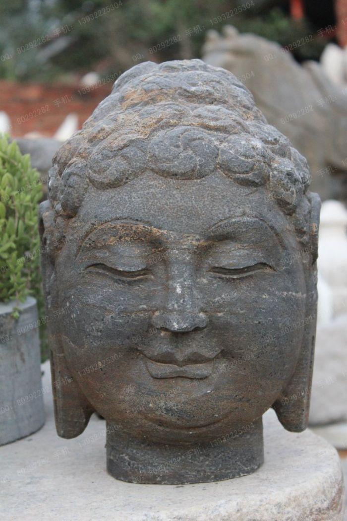 汉白玉石雕佛头,石雕佛头雕塑,青石佛头雕塑 -sdft016
